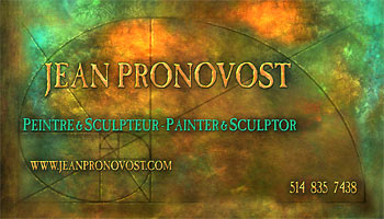 Business card design for the Montreal visionary artist Jean Pronovost.