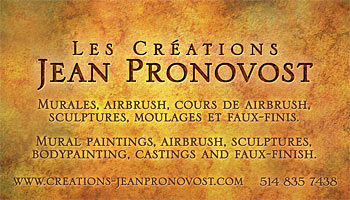 Business card design for Jean Pronovost's mural paintings, airbrush, sculptures and molding company in Montreal.