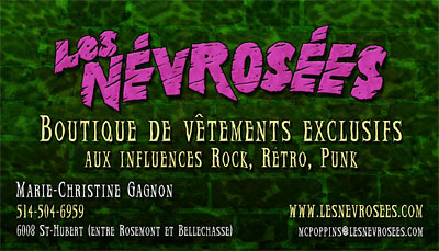 Business card design for the Montreal fashsion designer Les Nevrosées
