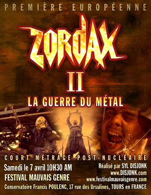 Zordax II post nuclear short film - European premiere flyer