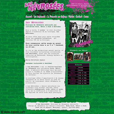 Website design for the rock, retro & punk fashion store Les Névrosées located in Montreal.