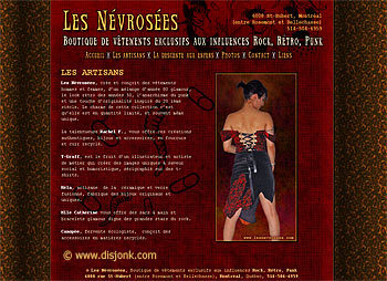 Website design for the rock, retro & punk fashion store Les Névrosées located in Montreal